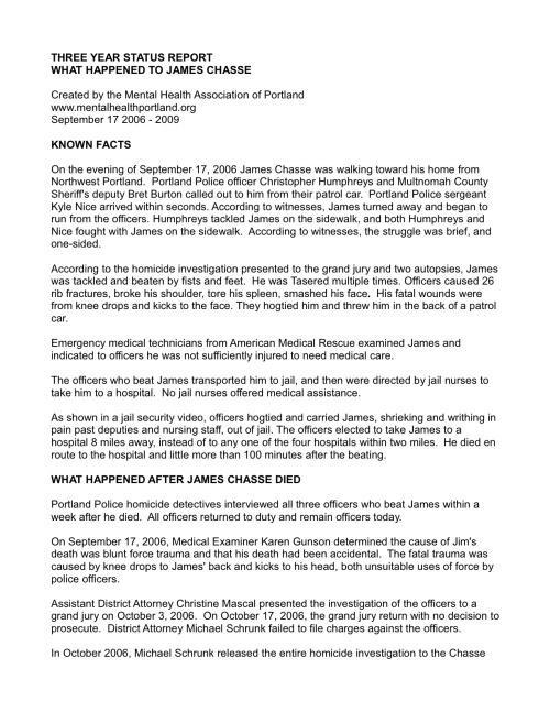 James Chasse Status Report - September 2009(1)