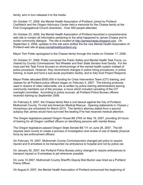 James Chasse Status Report - September 2009(2)
